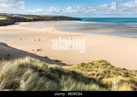 A view over Crantock Beach from the top of the sand dune system in Newquay in Cornwall. - Stock Photo
