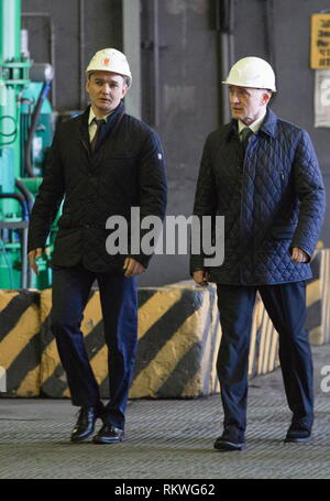 Chelyabinsk, Russia. 12th Feb, 2019. CHELYABINSK, RUSSIA - FEBRUARY 12, 2019: Pavel Izbrekht (L), general director, chairman of the Management Board at Chelyabinsk Zinc Plant, and Chelyabinsk Region Governor Boris Dubrovsky at the Chelyabinsk Zinc Plant. Nail Fattakhov/TASS Credit: ITAR-TASS News Agency/Alamy Live News - Stock Photo