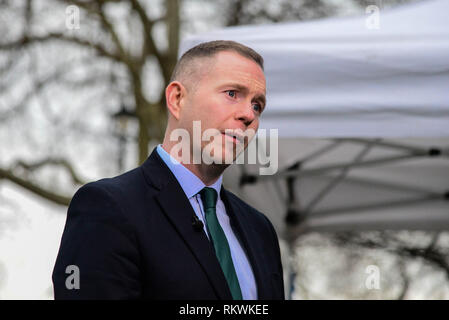 London, UK. 12th Feb, 2019. Chris Hazzard MP, Sinn Féin County Down being interviewed on College Green. Credit  : Claire Doherty/Alamy Live News - Stock Photo