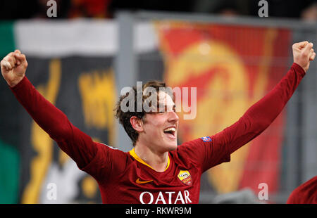 Rome, Italy, 12th February, 2019. Roma's Nicolo' Zaniolo celebrates after scoring during the Champions League round of 16 first leg soccer match between Roma and FC Porto at the Olympic Stadium. © Riccardo De Luca UPDATE IMAGES/ Alamy Live News - Stock Photo