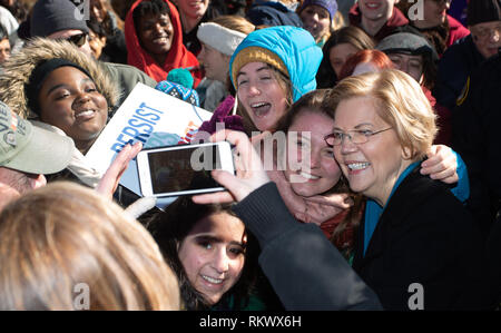 February 9. 2019 Lawrence, Massachusetts, USA: U.S. Senator Elizabeth Warren (D-MA) campaigning at a rally after announcing to launch her campaign for the 2020 Democratic presidential nomination in Lawrence, Massachusetts. Credit: Keiko Hiromi/AFLO/Alamy Live News - Stock Photo