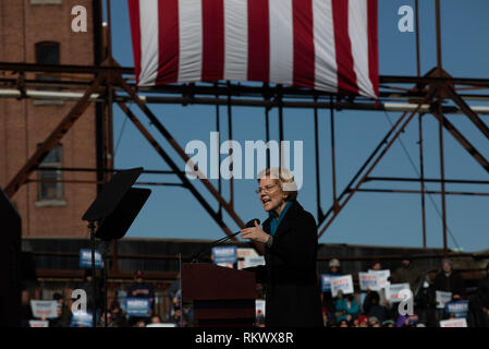 February 9. 2019 Lawrence, Massachusetts, USA: U.S. Senator Elizabeth Warren (D-MA) announcing to launch her campaign for the 2020 Democratic presidential nomination in Lawrence, Massachusetts. Credit: Keiko Hiromi/AFLO/Alamy Live News - Stock Photo