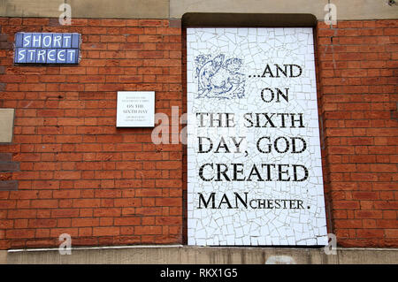 And On the Sixth Day mosaic at Afflecks in the Northern Quarter of Manchester - Stock Photo