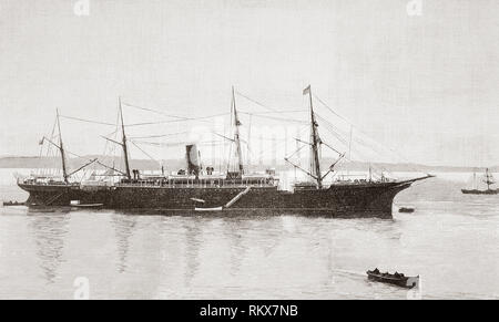 The steel screw steamer Reina Maria Cristina, seen here in the late 19th century.   Sister ship of the first Alfonso XIII. After the sinking of the Alfonso XIII she was known as 'La viuda alegre' (The happy widow).  From La Ilustracion Española y Americana, published 1892. - Stock Photo
