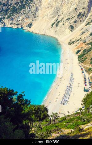 Myrtos beach, Kefalonia island, Greece. Beautiful view of Myrtos bay and beach on Kefalonia island - Stock Photo
