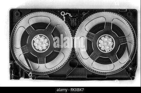 Open video cassette VHS tape - Stock Photo