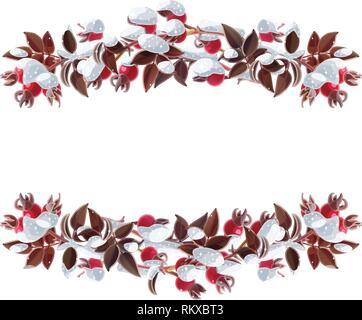 vector Christmas wreath winter border garland art - Stock Photo
