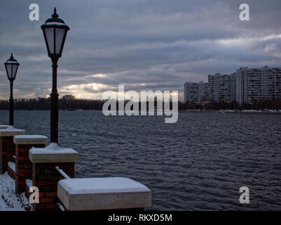 street lights on the embankment in late autumn, Moscow - Stock Photo