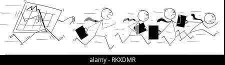 Cartoon of Group or Team of Businessmen Running in Panic Away From Falling Graph - Stock Photo