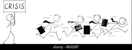 Cartoon of Group or Team of Businessmen Running in Panic Away From Man With Crisis Sign - Stock Photo