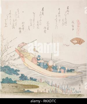 Ferry boat on the Sumida River, illustration for the Capital Shell (Miyako-gai), from the series ''A Matching Game with Genroku-period Poem Shells - Stock Photo