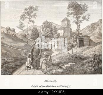 Wednesday: Footpath on the Mönchsberg Near Salzburg - 1823 - Ferdinand Olivier German, 1785-1841 - Artist: Ferdinand Olivier, Origin: Germany, Date: - Stock Photo