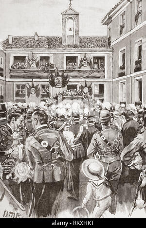 The inauguration of the Cavalry Academy, Valladolid, Spain, in 1852, the building was destroyed by fire in 1915. From La Ilustracion Espanola y Americana, published 1892. - Stock Photo