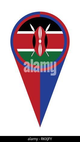 Kenya map pointer pin icon location flag marker - Stock Photo