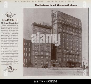 Chatsworth. 72nd Street and Riverside Drive. The World's loose leaf album of apartment houses containing views and ground plans of the principal high - Stock Photo