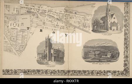City of Troy [cont.]; St. Pauls Church ; St. Johns Church ; Troy Iron and Nail Factory. Barton, William (fl. 1869) (Cartographer). Atlases of the - Stock Photo