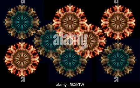 Fine art floral decorative geometrical symmetrical fractal color pattern/ornament/mandala/decor  made from macros of yellow brown/green blue tulips on - Stock Photo