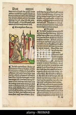 Jesus Foretelling the Destruction of Jerusalem from Spiegel menschlicher Behältnis (The Mirror of Human Salvation), Plate 13 from Woodcuts from Books - Stock Photo