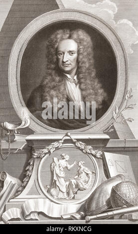 Sir Isaac Newton, 1642-1727.  English physicist and mathematician.  From the 1813 edition of The Heads of Illustrious Persons of Great Britain, Engraved by Mr. Houbraken and Mr. Vertue With Their Lives and Characters. - Stock Photo