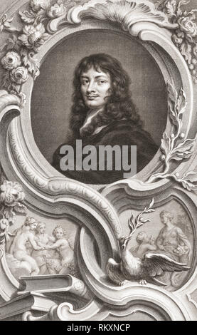 Sir William Temple, 1st Baronet, 1628 to 1699.  English statesman and essayist.  From the 1813 edition of The Heads of Illustrious Persons of Great Britain, Engraved by Mr. Houbraken and Mr. Vertue With Their Lives and Characters. - Stock Photo