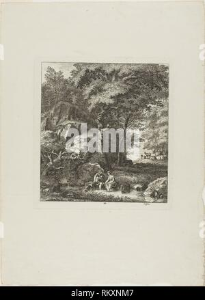 Couple Seated in a Glade - 1764 - Salomon Gessner Swiss, 1730-1788 - Artist: Salomon Gessner, Origin: Switzerland, Date: 1764, Medium: Etching on - Stock Photo