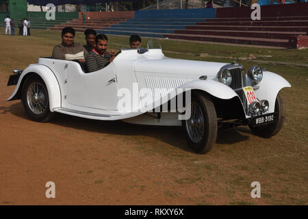 1936 Jaguar SS One car with 26 hp and 6 cylinder engine, WBB 3192 India. - Stock Photo