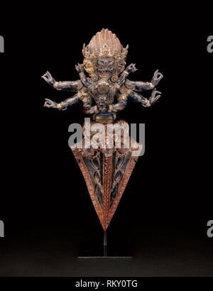 Personified Ritual Dagger (Vajrakila) in Ritual Embrace (Yab-yum) - 16th century - Tibet - Origin: Tibet, Date: 1501–1600, Medium: Copper repoussé - Stock Photo