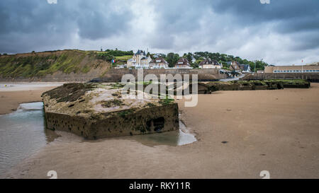 Arromanches in Normandy, Gold Beach, was the location for Mulberry B one of the temporary harbour used during the D-Day landings - Stock Photo