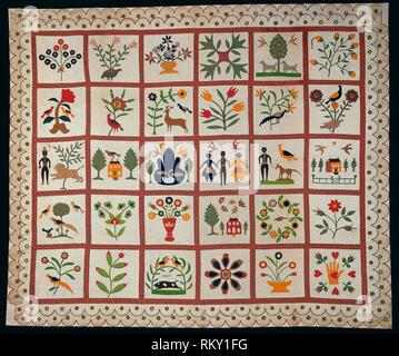 Album Quilt - 1854 - Designed and executed by Sarah Ann Wilson American, active c. 1854 - Artist: Sarah Ann Wilson, Origin: New York, Date: 1854, - Stock Photo