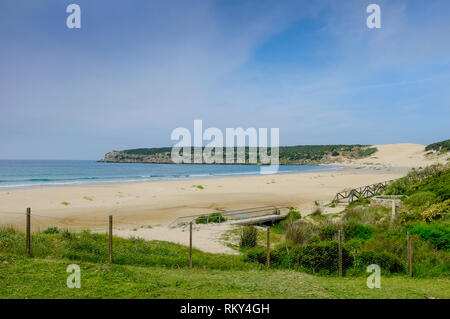 A view of the deserted beach and sand dunes at Bolonia Bay, Costa de la Luz, Andalucia, Spain Stock Photo