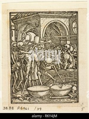 Dance of Death, plate 39 from Woodcuts from Books of the XVI Century - 1567, assembled into portfolio 1937 - Hans Holbein, the Younger, after - Stock Photo