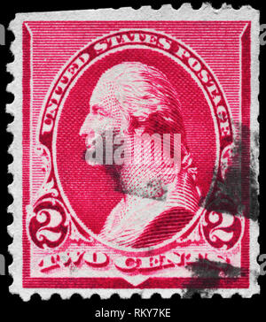 USA - CIRCA 1890: A Stamp printed in USA shows the portrait of a George Washington (1732-1799), series, circa 1890 - Stock Photo