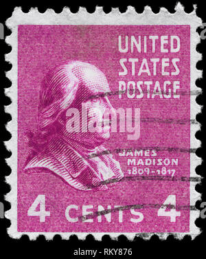 USA - CIRCA 1938: A Stamp printed in USA shows the portrait of a James Madison (1751-1836), series, circa 1938 - Stock Photo