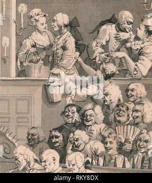 'The Laughing Audience', 1733, (1830s). Scene in a theatre: men and women flirting (above), and the audience reacts to the play (below). Metal spikes separate them from the orchestra pit. [Jones & Co., London] - Stock Photo
