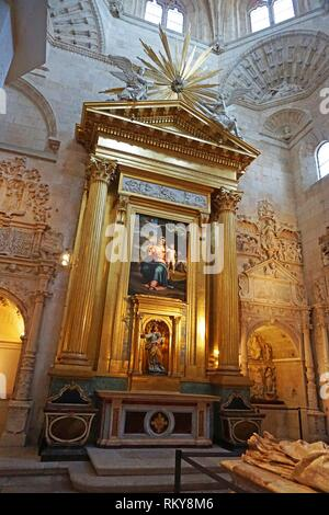 Reredos in the Capilla de la Presentación. Cathedral of Santa Maria. Burgos, Castilla y León, Spain - Stock Photo