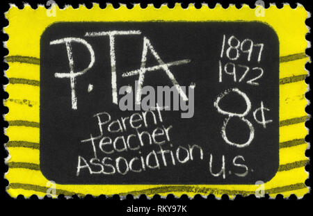 USA - CIRCA 1972: A Stamp printed in USA shows the Blackboard, devoted to Parent Teacher Association, 75th Anniv., circa 1972 - Stock Photo