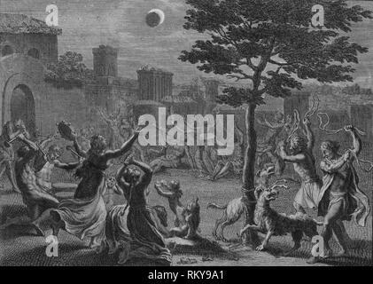 'Desolation des Peruviens pendant L'Eclipse de Lune', 1723.  Creator: Bernard Picart. - Stock Photo