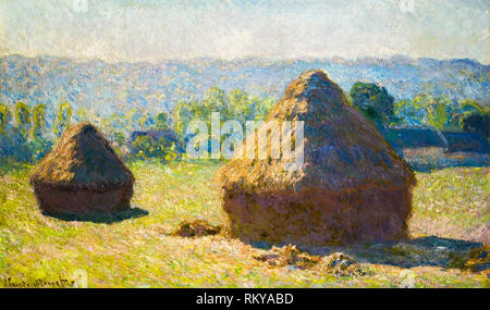 Haystacks, end of summer by Claude Monet, 1891, painting - Stock Photo