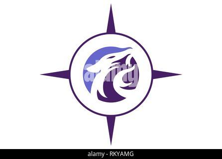 jaguar compass abstract logo icon vector concept flat design - Stock Photo