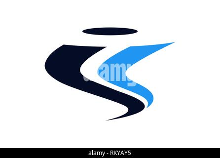 letter i tornado abstract logo icon vector concept flat design - Stock Photo