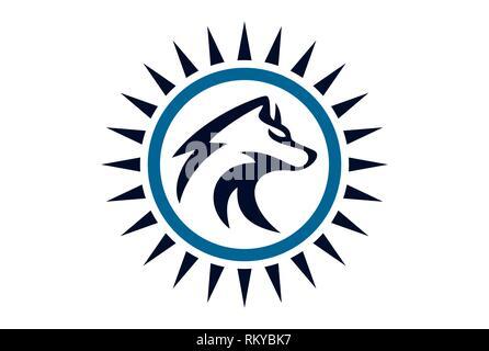 wolf abstract logo concept icon vector concept flat design - Stock Photo