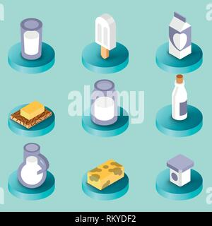 Milk flat isometric icons for graphic, web and logo design - Stock Photo