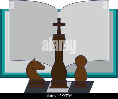 Book open with chess pieces - Stock Photo