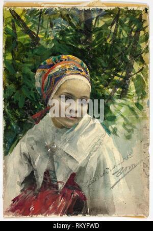 Portrait of a Girl - 1883 - Anders Zorn Swedish, 1860-1920 - Artist: Anders Zorn, Origin: Sweden, Date: 1883, Medium: Watercolor and graphite on