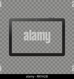 Black digital tablet mock up on transparent background. Front view. Vector. - Stock Photo