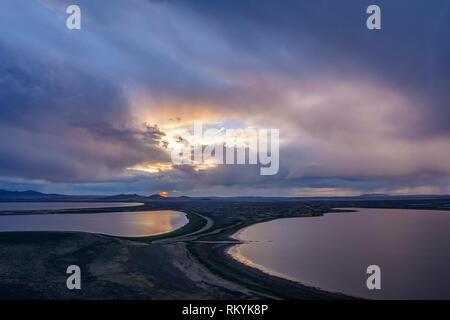 Warner Wetlands from Warner Valley Overlook at Hart Mountain National Antelope Refuge, eastern Oregon. - Stock Photo