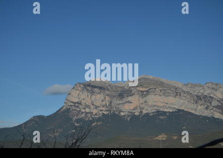 Beautiful View Of The Peña Montañesa From The Roofs Of Ainsa In Sobrarbe Travels, Landscapes, Nature. December 26, 2014. Ainsa, Huesca, Aragon. - Stock Photo