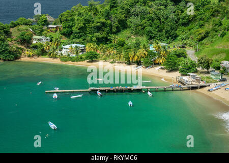 Parlatuvier Bay on north coast of Tobago island, Trinidad & Tobago. - Stock Photo