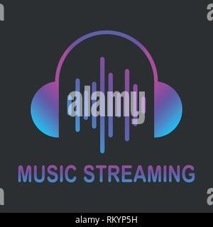Audio streaming logo. Music cloud logo. Vector. EPS 10 - Stock Photo