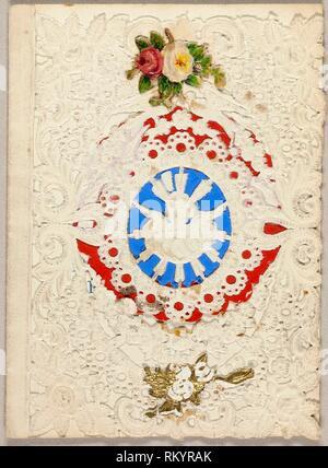 Untitled Valentine (Putti on Blue Ground) - c. 1850 - Unknown Artist American or English, 19th century - Origin: United States, Date: 1845–1855, - Stock Photo